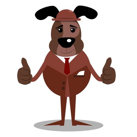 Perro ilustrado de dibujos animados haciendo pulgares arriba firmar con las dos manos.