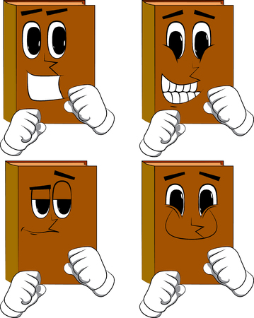 Books holding his fists in front of him ready to fight. Cartoon book collection with happy faces. Expressions vector set.