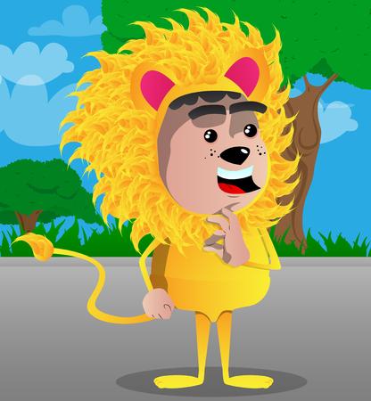 Boy dressed as lion showing ok sign. Vector cartoon character illustration. Foto de archivo - 103196295