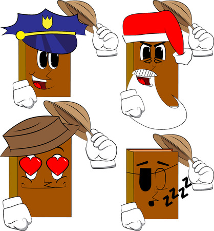 Books tipping his hat. Cartoon book collection with costume faces. Expressions vector set.