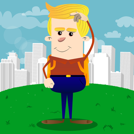 Schoolboy confused. Vector cartoon character illustration.