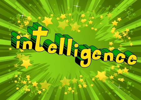 Intelligence - Comic book style word on abstract background.