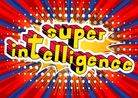 Super Intelligence - Comic book style word on abstract background.