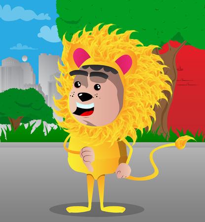 Boy dressed as lion showing dislike hand sign. Vector cartoon character illustration. Illustration