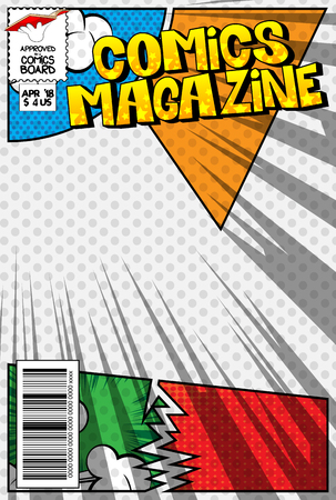 Editable comic book cover with abstract explosion background. Reklamní fotografie - 103196335