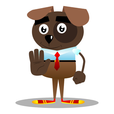 Cartoon illustrated business dog showing deny or refuse hand gesture.