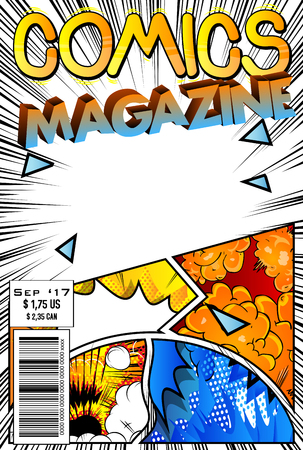 Editable comic book cover with abstract background. Ilustração