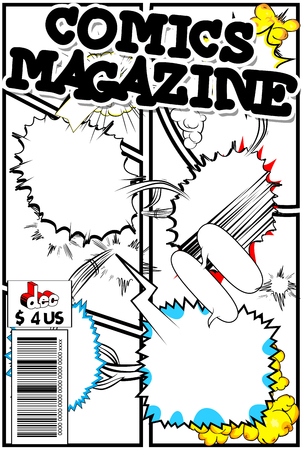 Editable comic book cover with abstract background.  イラスト・ベクター素材
