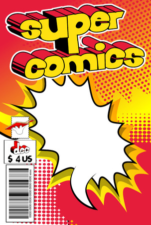 Editable comic book cover with abstract background. Çizim