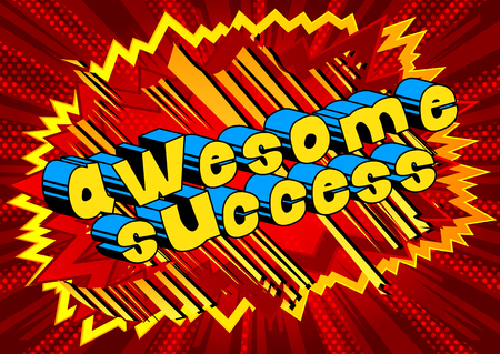 Awesome Success - Comic book word on abstract background. Ilustração