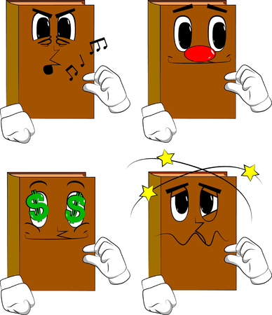 Books gesturing a small amount with hand. Cartoon book collection with various faces. Expressions vector set.