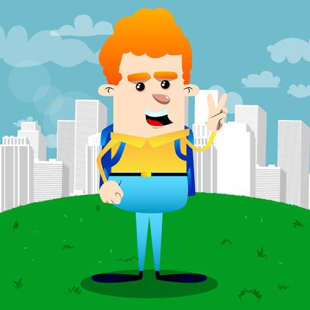 Schoolboy showing the V sign. Vector cartoon character illustration. Ilustração
