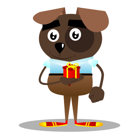 Cartoon illustrated business dog holding small gift box.