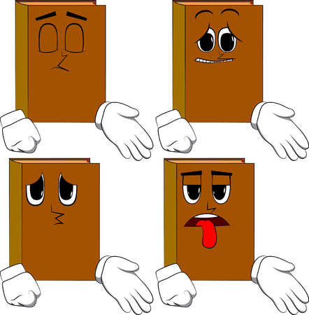 Books giving a hand. Cartoon book collection with sad faces. Expressions vector set. Иллюстрация