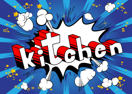 Kitchen - Comic book word on abstract background. Çizim