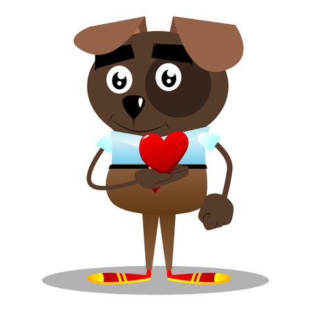Cartoon illustrated business dog holding red heart in his hand.