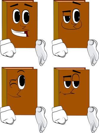 Books giving a hand. Cartoon book collection with happy faces. Expressions vector set.