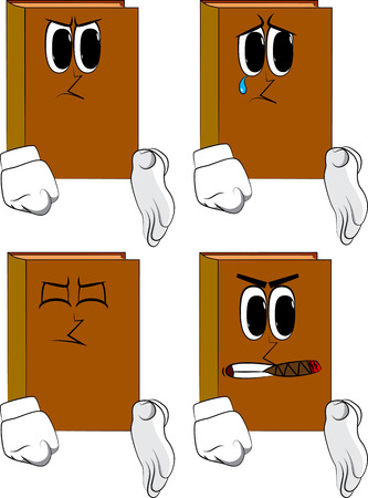 Books giving a hand. Cartoon book collection with angry and sad faces. Expressions vector set.