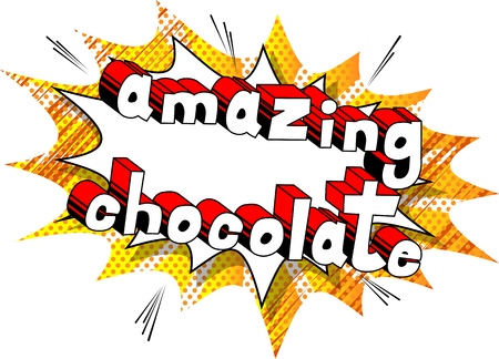 Amazing Chocolate - Comic book word on abstract background. 일러스트