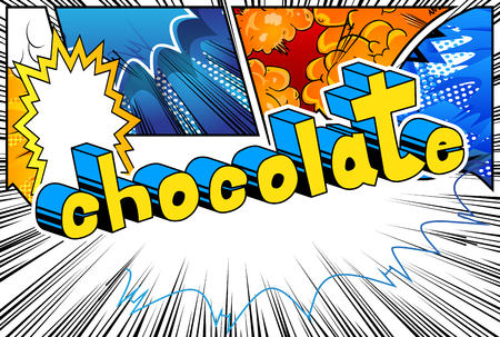 Chocolate - Comic book word on abstract background.