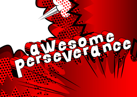 Awesome Perseverance - Comic book word on abstract background. 向量圖像