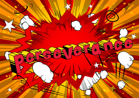 Perseverance - Comic book word on abstract background. Stock Illustratie