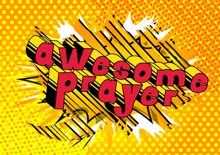 Awesome Prayer - Comic book word on abstract background. 矢量图像