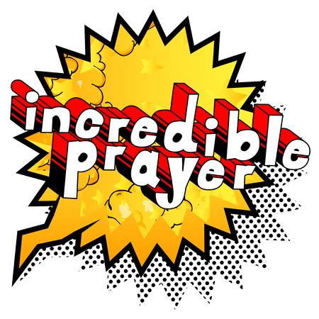 Incredible Prayer - Comic book word on abstract background. Çizim