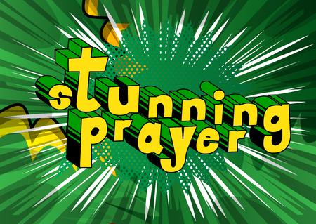 Stunning Prayer - Comic book word on abstract background. Illustration