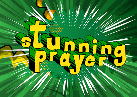 Stunning Prayer - Comic book word on abstract background. Vectores