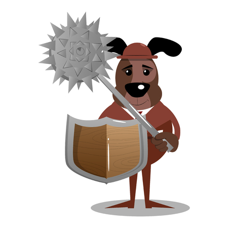 Cartoon illustrated business dog holding a spiked mace and shield.
