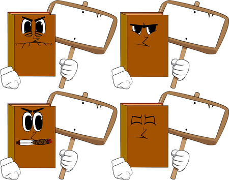 Books holding blank sign. Cartoon book collection with angry faces. Expressions vector set.