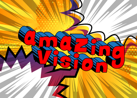 Amazing Vision - Comic book word on abstract background. Archivio Fotografico - 103945418