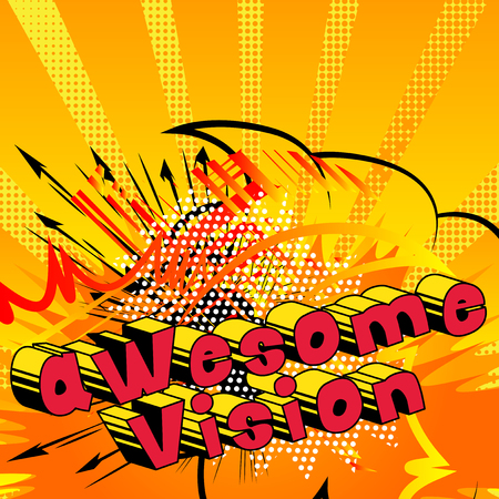 Awesome Vision - Comic book word on abstract background. Archivio Fotografico - 103945420