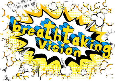 Breathtaking Vision - Comic book word on abstract background. Illustration