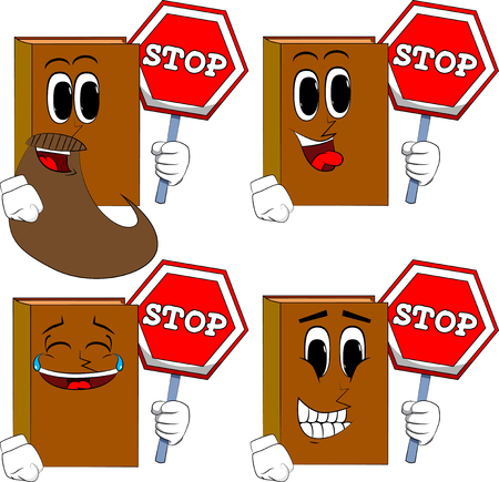 Books holding a stop sign. Cartoon book collection with happy faces. Expressions vector set.