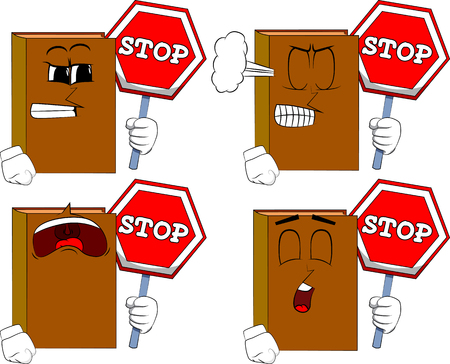 Books holding a stop sign. Cartoon book collection with angry and sad faces. Expressions vector set. 向量圖像