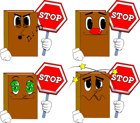 Books holding a stop sign. Cartoon book collection with various faces. Expressions vector set.