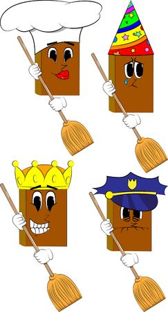 Books holding a broom. Cartoon book collection with costume faces. Expressions vector set. Illustration