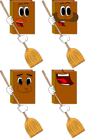 Books holding a broom. Cartoon book collection with happy faces. Expressions vector set. Stock Illustratie