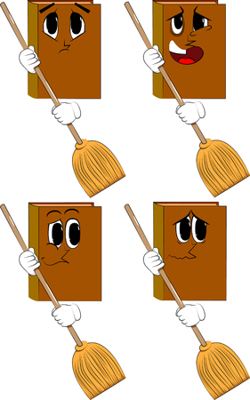 Books holding a broom. Cartoon book collection with sad faces. Expressions vector set.