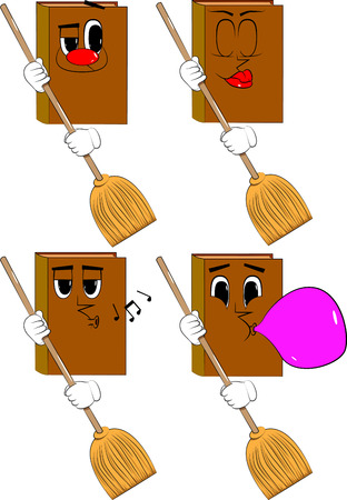 Books holding a broom. Cartoon book collection with various faces. Expressions vector set.