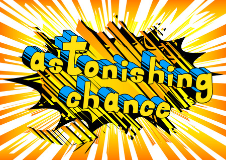 Astonishing Chance - Comic book word on abstract background. 向量圖像