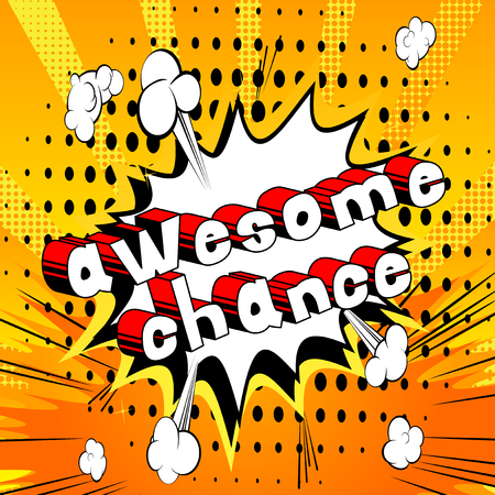 Awesome Chance - Comic book word on abstract background. Archivio Fotografico - 103946437