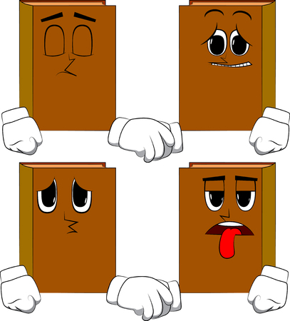Books making handshake. Cartoon book collection with sad faces. Expressions vector set. Illustration