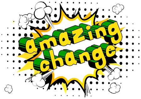 Amazing Change - Comic book word on abstract background. Archivio Fotografico - 103946856