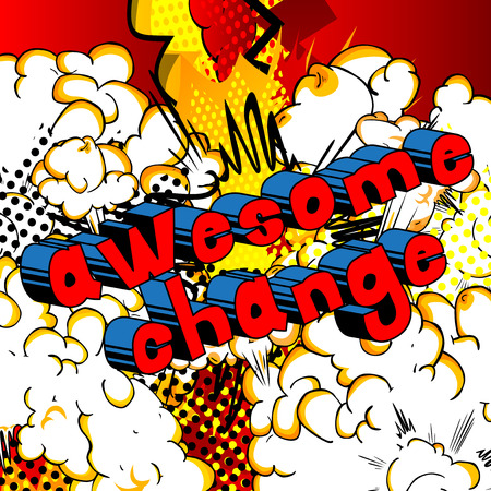 Awesome Change - Comic book word on abstract background. Çizim