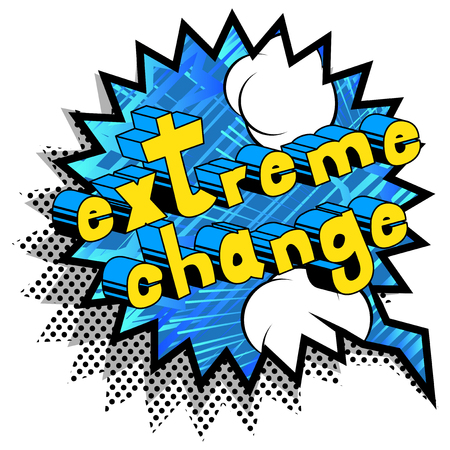 Extreme Change - Comic book word on abstract background. Çizim