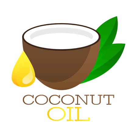 Coconut oil logo. Organic product vector label. Packaging design banner. Branding element and icon.