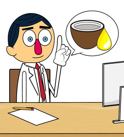 Doctor explaining Coconut oil. Vector cartoon character, health illustration.